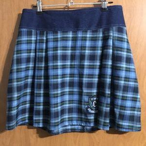 Vintage Pleated Plaid Skirt with Crest